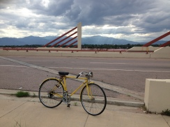 Vintage Raleigh bike ride in Colorado Springs with Pike's Peak in background.