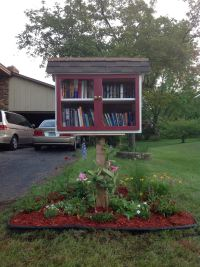 Our Little Free Library with landscaping